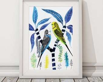 Budgies Parakeets on Frangipani Large A2 Signed Limited Edition Fine Art Giclée Print. Tropical, Australia, Parrot, bird