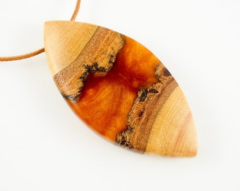 Gold Resin and Wood Pendant; Wood and Resin Jewelry, Wood and Resin Pendant, Resin Jewelry
