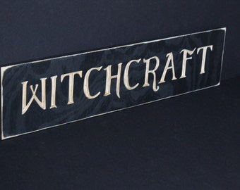 Witchcraft Sign Carved in Wood | Wiccan | Occult | Pagan | Esoterica | Metaphysical