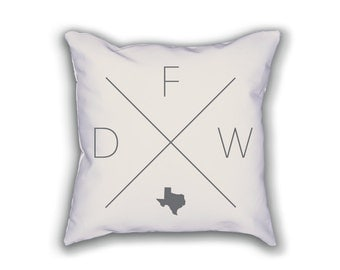 Dallas Fort Worth Home Pillow - Texas Pillow, Texas Home Decor, Dallas Fort Worth Home Decor, Texas Home Pillow, Texas Throw Pillow