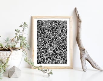 "Abstract Prints, Home Decor, Art Prints, Abstract Art, Wall Art, Modern Art, Black and White Art, Home Decoration, Maze Art Print, 9"" x 12"""