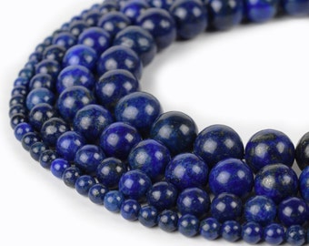 "Lapis Lazuli Beads Round 4mm 6mm 8mm 10mm 12mm 15.5"" Strand Loose Beads"