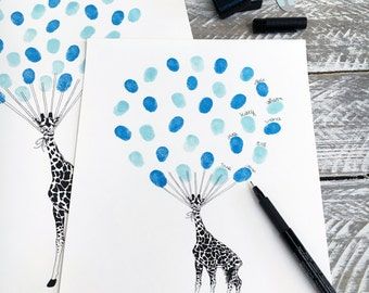 Giraffe Baby Shower Guest Book fingerprint balloon  + 2 ink pads. Personalised Baby Gift, Nursery wall Art Size: A4  Free Delivery Aust Wide