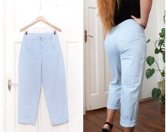 Vintage 80s Baggy Boyfriend Jeans High Waisted Light Blue Wash Ankle Jeans High Rise Waist W29 Short Mom Pants Tapered Leg Slouchy Trousers