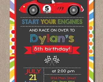 Race Car Birthday Invitation, Race Invitation, Racing Car Invite, Chalkboard, printable