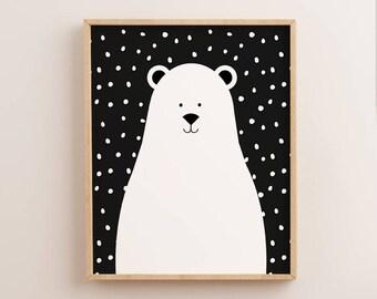 Polar Bear Print, Bear Print, Scandinavian Nursery, Nursery Wall Art, Scandinavian Print, Scandinavian Art, Kids Prints, Kids Wall Art, Bear