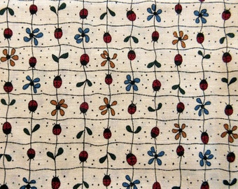 Little Quilts Design For Fabri-Quilts Quilt/Craft Fabric - Red Ladybugs - Vintage - 1/2 Yd.