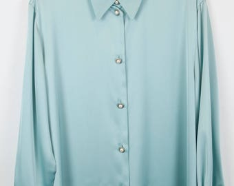 Vintage shirt, 80s clothing, shirt 80s, mint green, pearl buttons, long sleeves, oversized