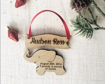 Personalized Elephant Ornament - Baby's First Christmas Ornament with Birth Details - Custom Wooden Laser Cut Holiday Ornament