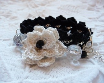 Crochet bracelet black bracelet flower bracelet beaded bracelet swarovski crystal crochet jewelry double chain bracelet crochet jewellery