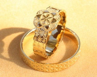 Flower of Life Wedding Ring Set  Gold Wedding Ring Set  Wedding Rings His  andGold Flower Of Life Ring Flower of Life Wedding Band Boho. Hippie Wedding Rings. Home Design Ideas