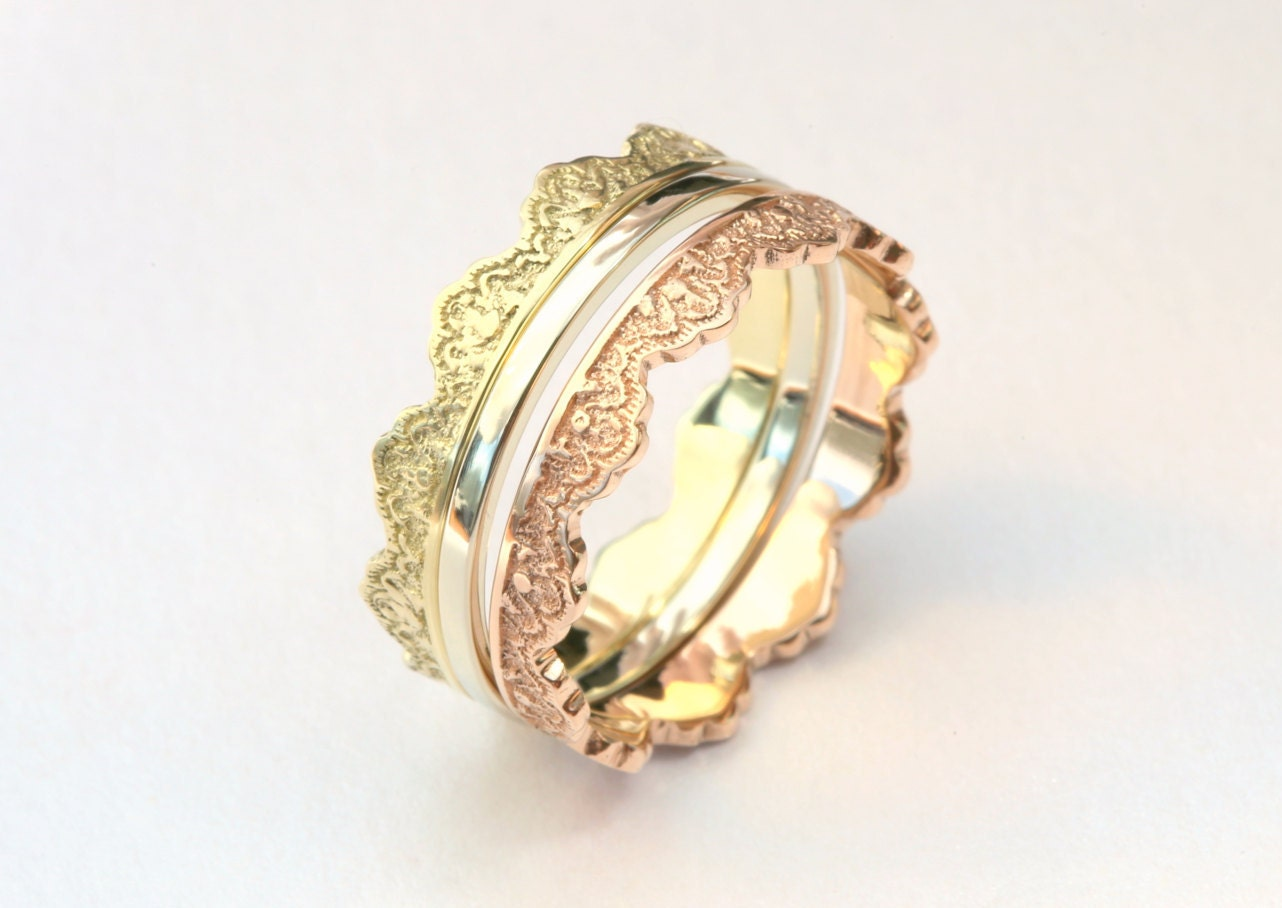 3 gold stacking rings with lace pattern gold stackable rings. Black Bedroom Furniture Sets. Home Design Ideas