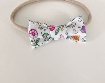 Loop for baby / toddler fabrics - white little hearts and flowers colorful - choose your accessory
