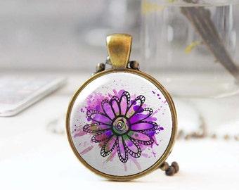 Purple necklace, Boho long necklace, Flower necklace, Floral pendant, Round pendant necklace, Bohemian jewelry for women, 5093-7