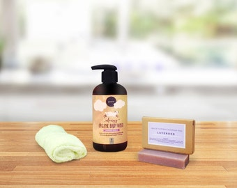 Lavender Gift Set, Organic Soap, Natural Baby Shampoo with soft bamboo washcloth