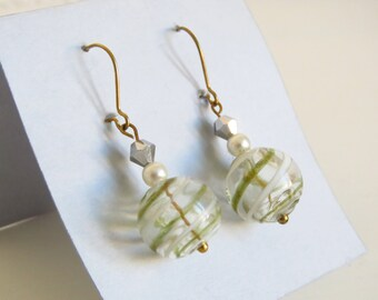 Vintage, blown glass earrings, earrings with Pearl, metallic luster, party, new year's Eve