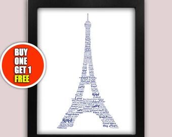 Eiffel Tower personalised art print,  Eiffel Tower print, Eiffel Tower artwork, Eiffel Tower present