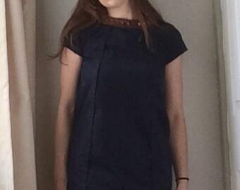 Navy 1960s Style Smock Dress, UK 6-8