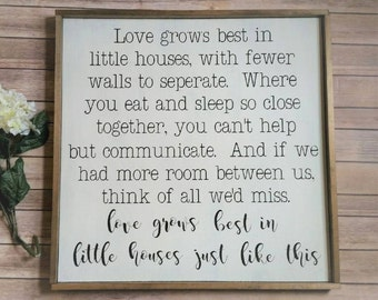 Love Grows Best In Little Houses, Hand Painted Wood Sign with Frame, Rustic Wood Sign, Living Room Decor, Entry Decor, Family Decor, Wood