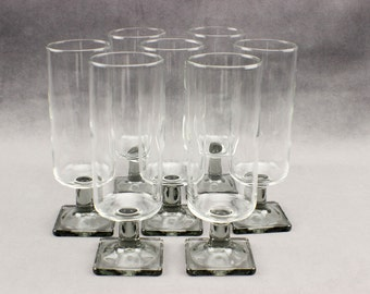 Federal Glass Nordic Midnight Smoke Parfait Glasses Set of Seven