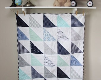 Modern Baby Quilt, Traditional Quilt in blues, mint, and grays.
