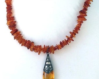 Baltic Amber and Sterling Silver Choker