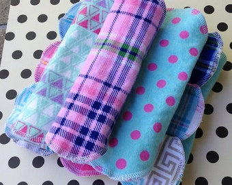 Buy 5, 10 or 20, 3 sizes, Priced to Sell, Reusable Cloth Panty Liners, Plaids Polka Dots, Flannel Panty Liner Pad, Winged