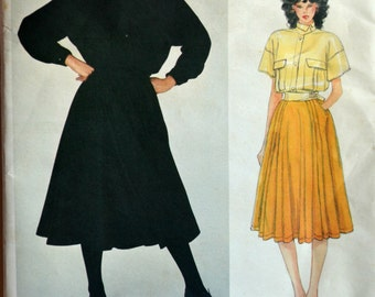 Uncut 1980s Vogue Vintage Sewing Pattern 2854, Size 8; Claude Montana Misses' Jacket and Skirt