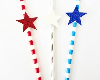 Red White and Blue Patriotic Party Paper Straws - Fourth of July Party - Set of 12