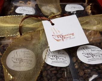 Gourmet Coffee Sampler Gift Basket, gift set of 6 gourmet coffees, birthday gift, hostess gift, corporate gift, Coffee Gift Set