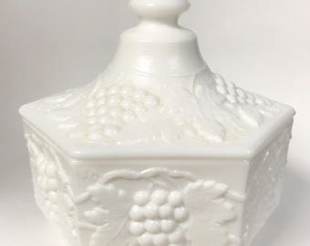 Vintage White Milk Glass Candy Dish Trinket Box Featuring Grapes By Imperial
