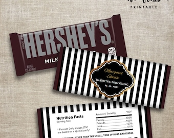 Black and White Stripe Candy Bar Label | Hershey Chocolate Wrappers | Editable | Printable | Instant Download