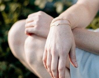 Minimal Bracelet, Gold Geometric Bracelet, Gold Chain Bracelet, Simple Gold Bracelet, Minimal Stacking Bracelet   THE GATE BRACELET