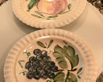 Two Fruit Design Plates By Red Wing//Embossed Rim and Yellow Circle//Decorative Wall Plates//Vintage Red Wing Plates
