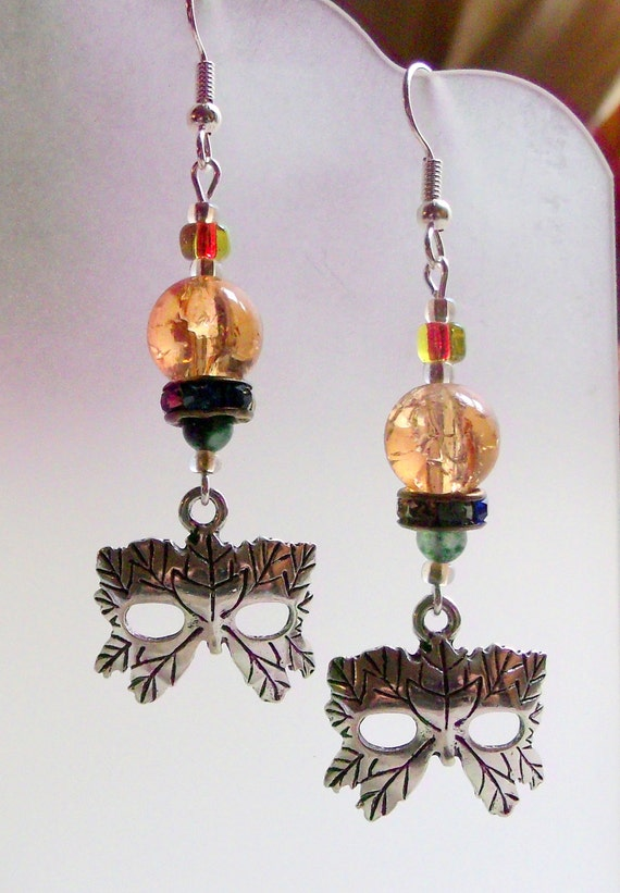 Woodland mask earrings -  theater -  peach  mask earrings- costume - fantasy -  elf  - half mask charm - fairy tale earrings - Lizporiginals