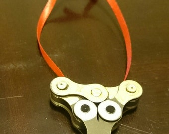 Bicycle Ornament. Reindeer. Hade Made From Recycled Bicycle Chain.. Free Shipping!!