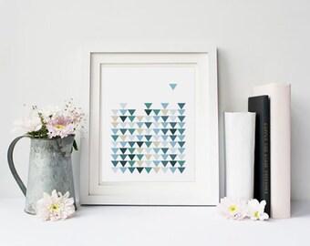 Blue print art, Pattern print, Scandinavian decor, Triangle art, geometric wall decor, printable abstract art, prints for office, printable