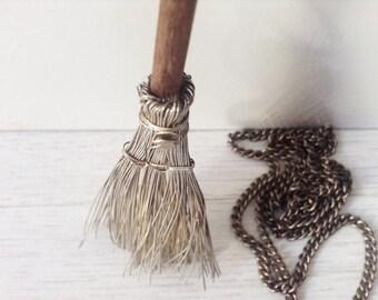 Silver broom miniature vintage