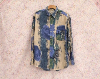 1980's shirt Happy Life 80's Vintage blue beige abstract print Long sleeve shirt Party Hipster Casual Shirt large xlarge