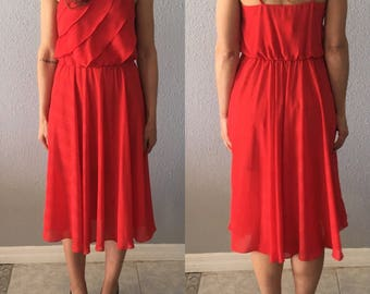 Vintage Red Fit and Flare Ruffled 1970's 70's Midi Dress by Jody