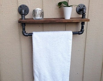 Industrial Pipe Bathroom Shelf Towel Rack