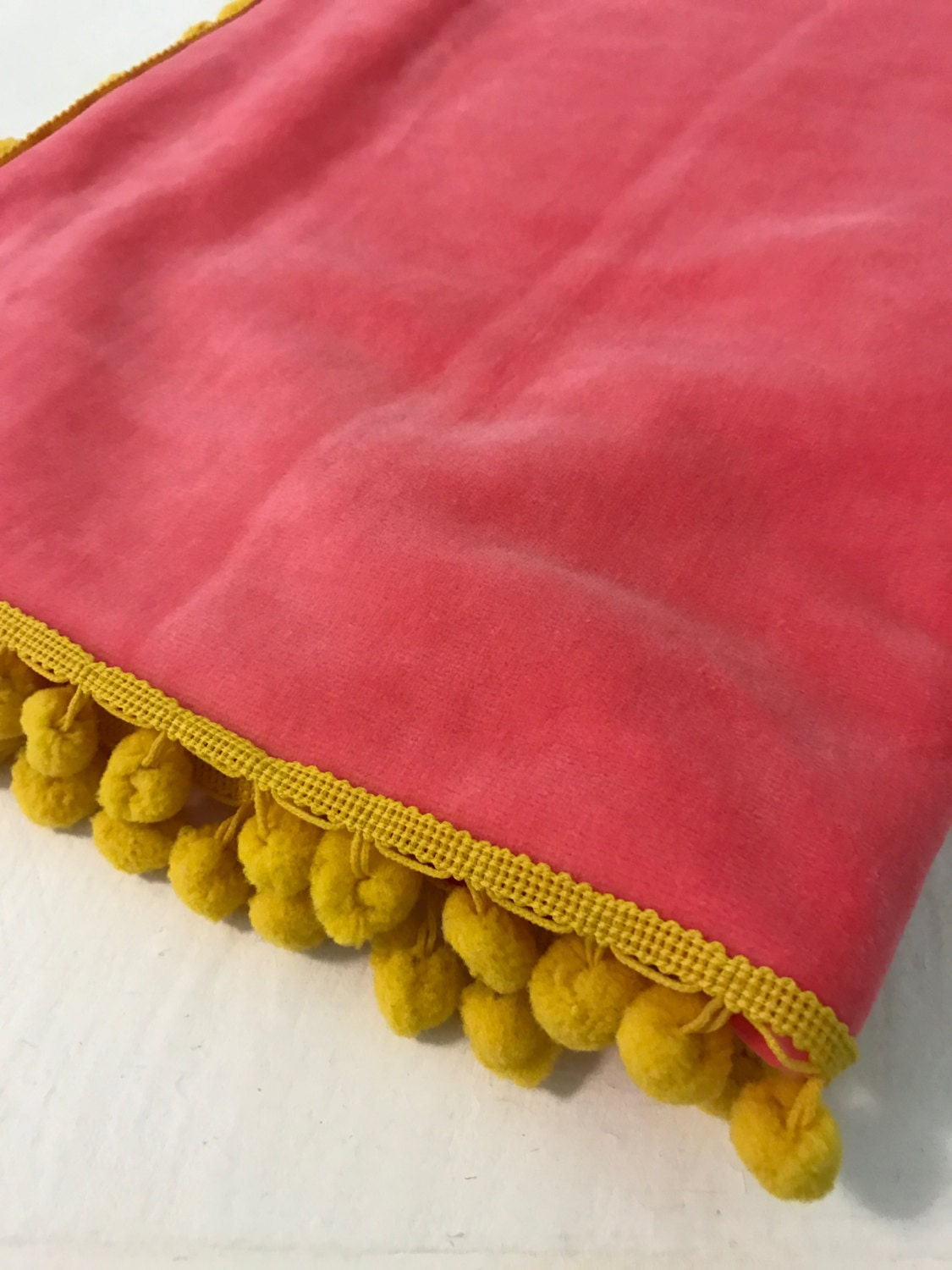 Baby Blanket / Organic Cotton Velour / Coral / Yellow / Pink / Toddler / Girl / Warm / Shower Gift / Swaddle / Nursery Décor / Crib / Winter