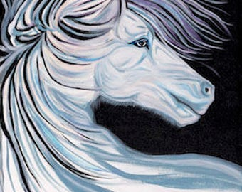 """Pure Spirit Horse Head Bust Painting - 20"""" x 16"""" on Stretched Canvas *on sale*"""