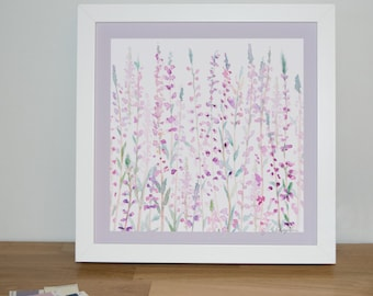 Heather 23cm Watercolour Print | Signed Glicee Print | 23cm x 23 cm Square | by Hannah Knapton | Pink, Purple and White