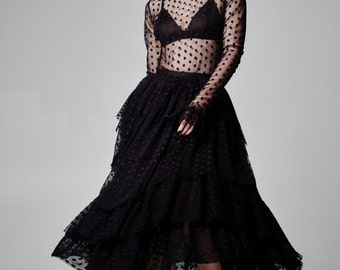 Gypsy Skirt, Long Black Skirt, Maxi Skirt, Boho Skirt, Black Tulle Skirt, Layered Skirt, Polka Dot Skirt, Sheer Skirt, Black Tulle Skirt