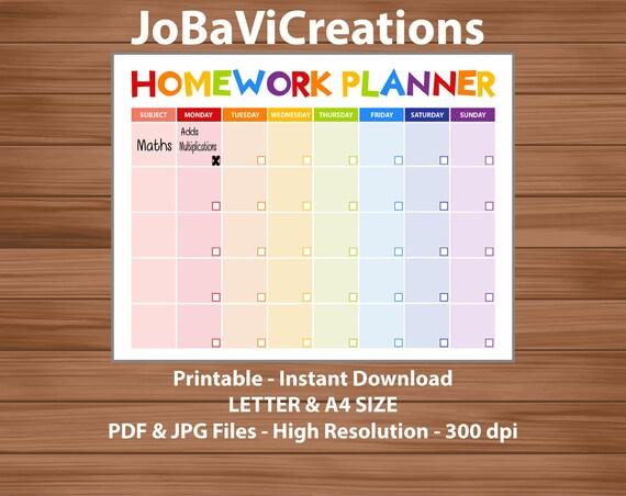 kids homework planner printable  childs homework planner  kids