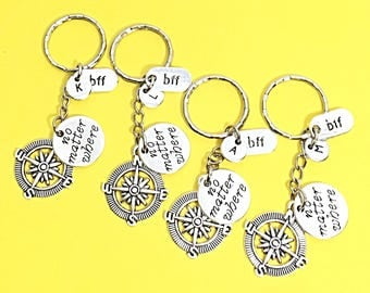 Friendship keychain Set of 4 bff keychains, bff charm, bff keychain, set of 4 best friend,no matter where bff,personalized keychain,bff gift