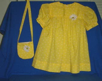 Size 4 Girls Spring/Summer Yellow Dress and matching purse