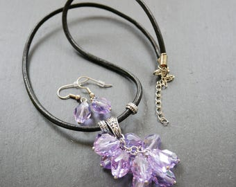 Purple drop crystal necklace with matching earrings
