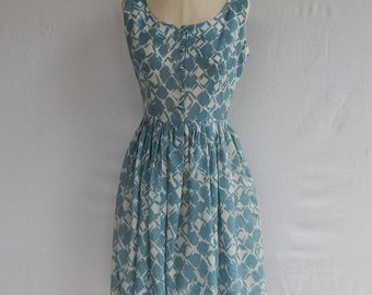 1950's blue white handmade day dress sun dress vintage ikat cotton buttons pleated scoop neck small cornflower baby blue fifties swing dress
